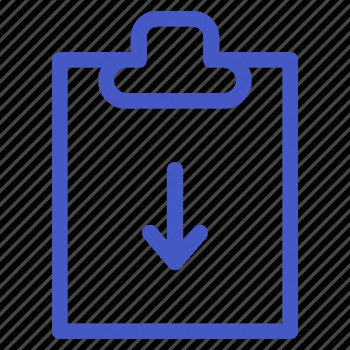 arrow, document, down, file, task icon