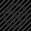forbidden, gun, no, piercer, piercing, prohibition, stop