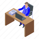 business, cartoon, inspector, isometric, tax, woman, workplace icon