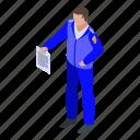 business, cartoon, inspector, isometric, person, tax, uniform icon