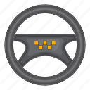 cartoon, drive, sign, steering, taxi, vehicle, wheel icon