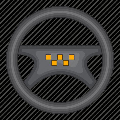 cartoon, drive, sign, steering, taxi, vehicle, wheel icon