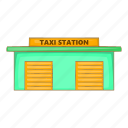 car, cartoon, sign, station, taxi, transportation, vehicle icon