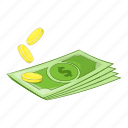 cartoon, coins, dollars, finance, money, purse, sign icon