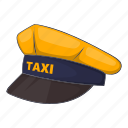 cap, car, cartoon, driver, sign, taxi, transportation icon