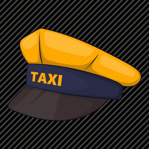 cap, car, cartoon, driver, sign, taxi, transportation icon