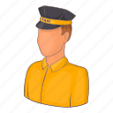 car, cartoon, driver, sign, taxi, transportation, uniform icon