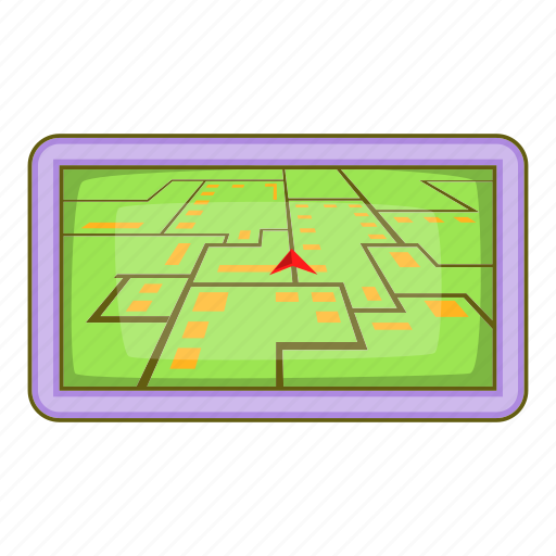Cartoon, gps, map, navigation, pin, road, sign icon - Download on Iconfinder