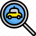 delivery, find, magnifier, search, service, taxi icon