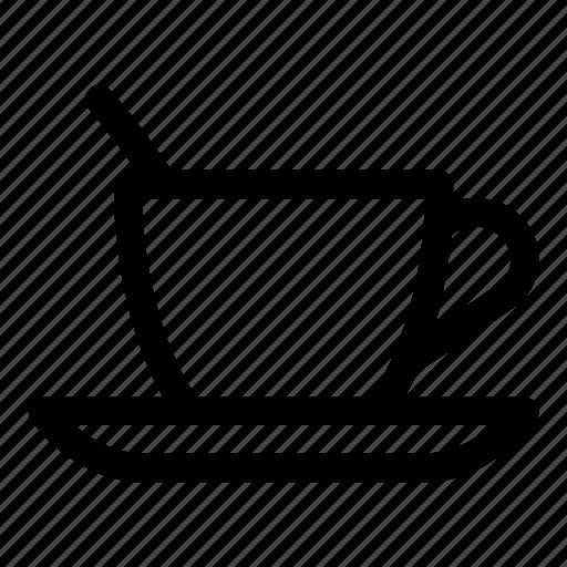 cup, dinner, kitchen, spoon, tea, tea cup, tea steam icon