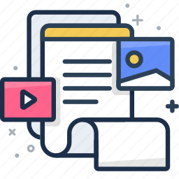 document, file, image, media, media player, music, note icon