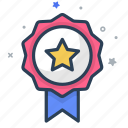 emblem, honor, medal, prize, reward, ribbon, star icon