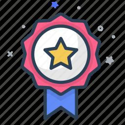 award, emblem, honor, medal, prize, reward, ribbon, star, winner icon