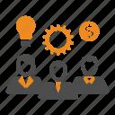 gear, idea, money, team, teamwork, users icon