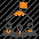 flag, peak, team, teamwork, top, users icon