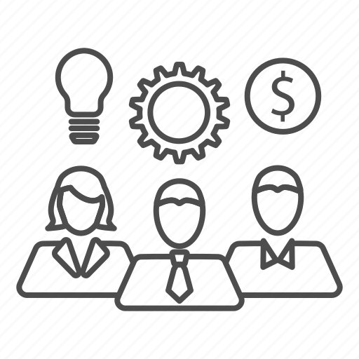 business, gear, idea, money, team, teamwork icon