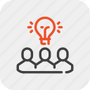 brainstorm, idea, people, team, teamwork, thinking, work icon
