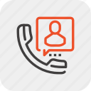 call, communication, contact, customer, person, service, support icon