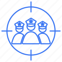 group, police, target, targeted, team icon