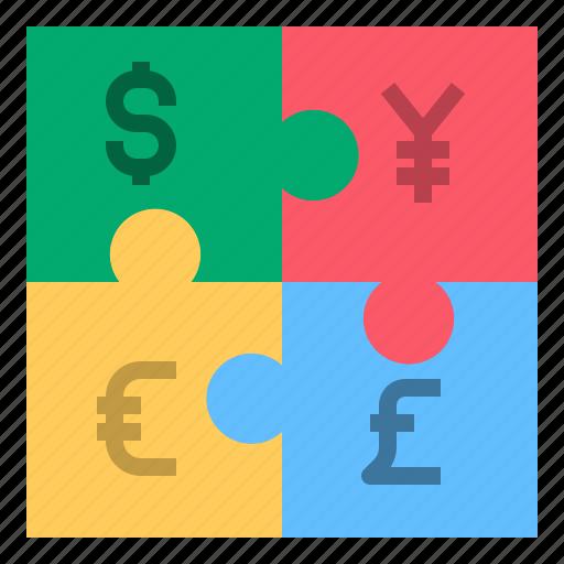 dollar, euro, jigsaw, money, pond, yen icon