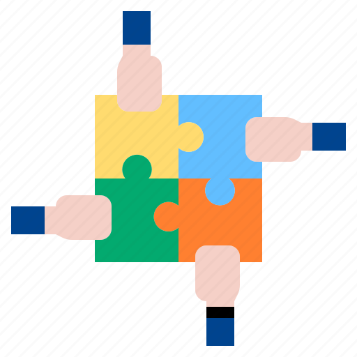 hand, puzzle, strategy, teamwork icon