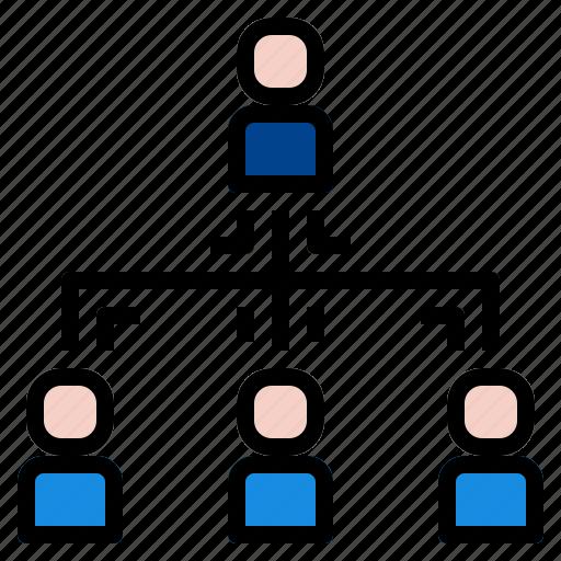 diagram, hierarchy, team icon