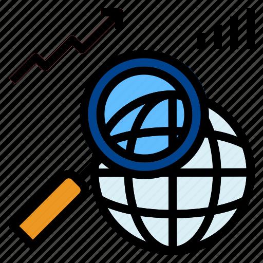 globe, graph, search icon