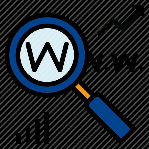Seo, graph, search icon