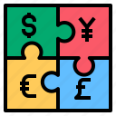 moneyjigsaw, yen, money, jigsaw, dollar, euro