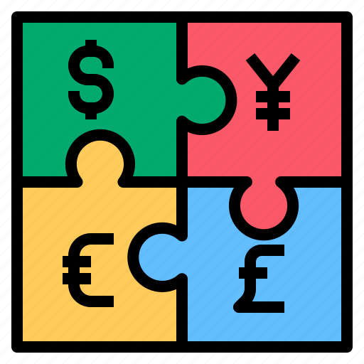 Moneyjigsaw, yen, money, jigsaw, dollar, euro icon - Download
