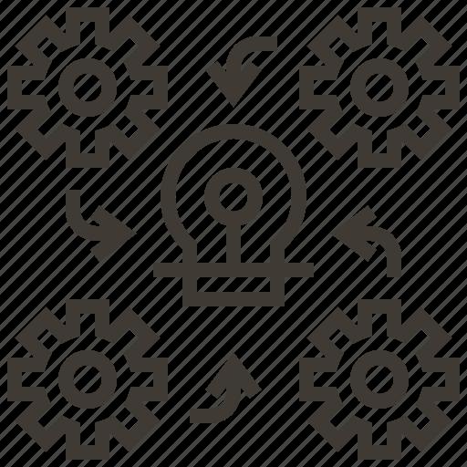 analysis, brainstorm, business, organization, strategy, team, teamwork icon