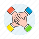 combine, collaboration, four, collaborated, hand, teamwork, effort, cooperate icon
