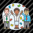 1, achievements, career, celebrate, climb, confetti, female, growth, promotion, teamwork icon