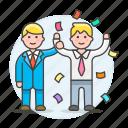 2, achievements, career, celebrate, climb, confetti, growth, male, promotion, teamwork icon