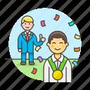 1, achievements, congratulation, male, medal, promotion, reward, success, teamwork icon