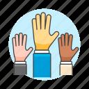 collaboration, democracy, election, hand, hands, raise, teamwork, vote icon