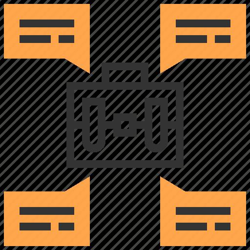 bag, brainstorm, business, message, organization, team, teamwork icon