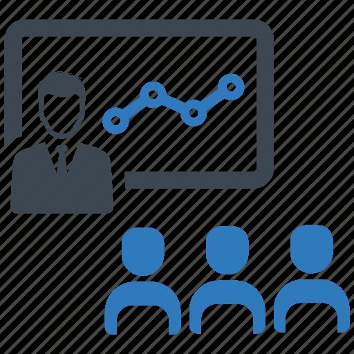analytics, business meeting, presentation icon