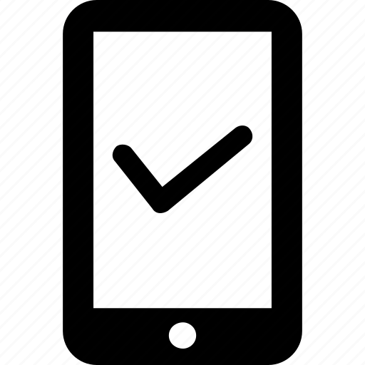 app, checked, connected, mobile phone, secure icon