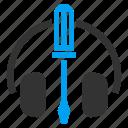 audio control, head set, headset, music, screwdriver, settings, speaker icon