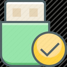 accept, check, mark, memory, storage, success, usb icon