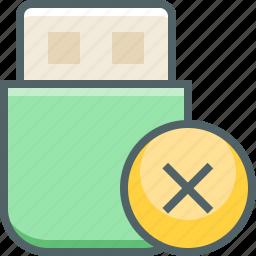 cancel, close, delete, minus, remove, storage, usb icon