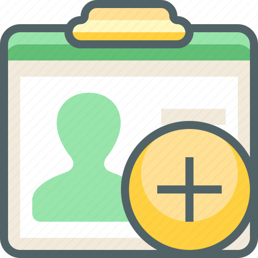 add, card, create, id, new, profile, user icon