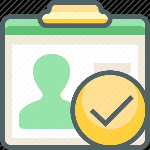 accept, card, check, id, mark, tick, user icon