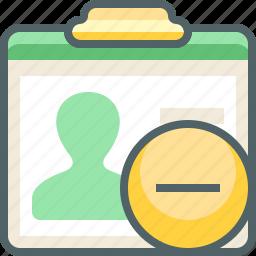 card, delete, id, minus, profile, remove, user icon