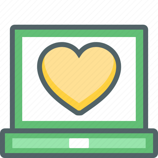 bookmark, computer, device, favorite, heart, laptop, screen icon
