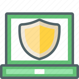 computer, device, laptop, protection, safe, security, shield icon