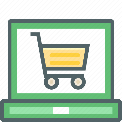 cart, ecommerce, internet, laptop, network, online, shopping icon