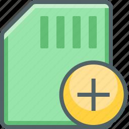 add, card, memory, new, plus, storage icon