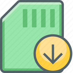 arrow, card, down, download, memory, receive, storage icon